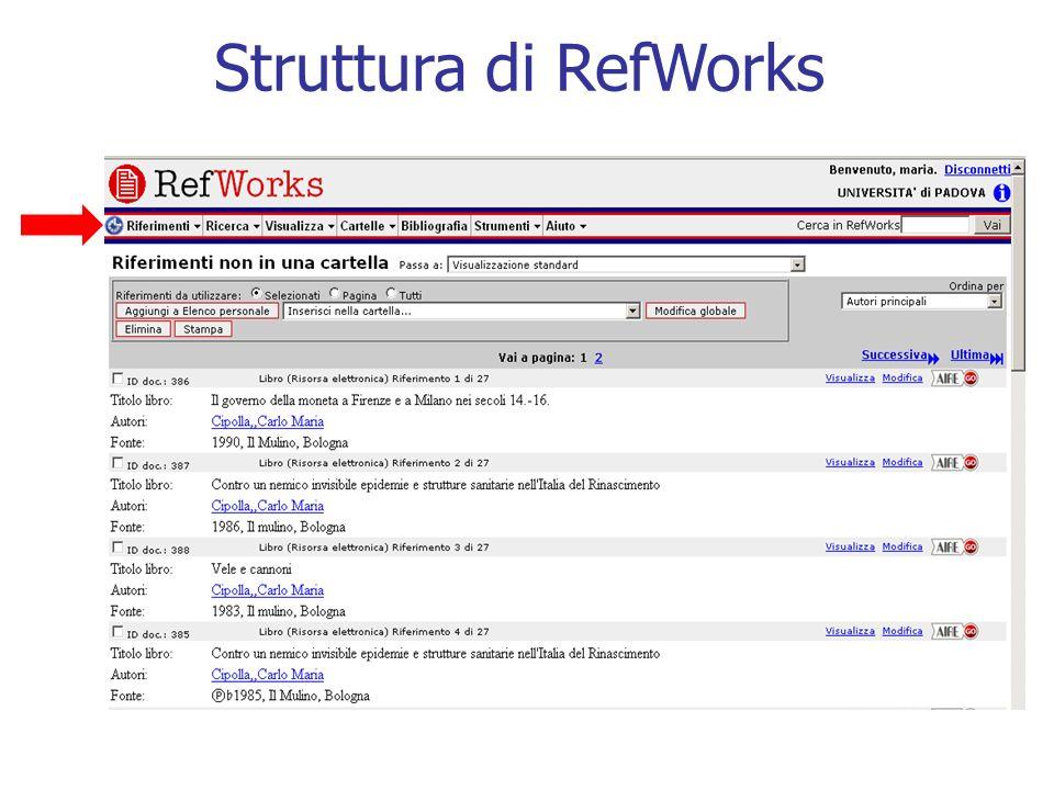 Struttura di RefWorks