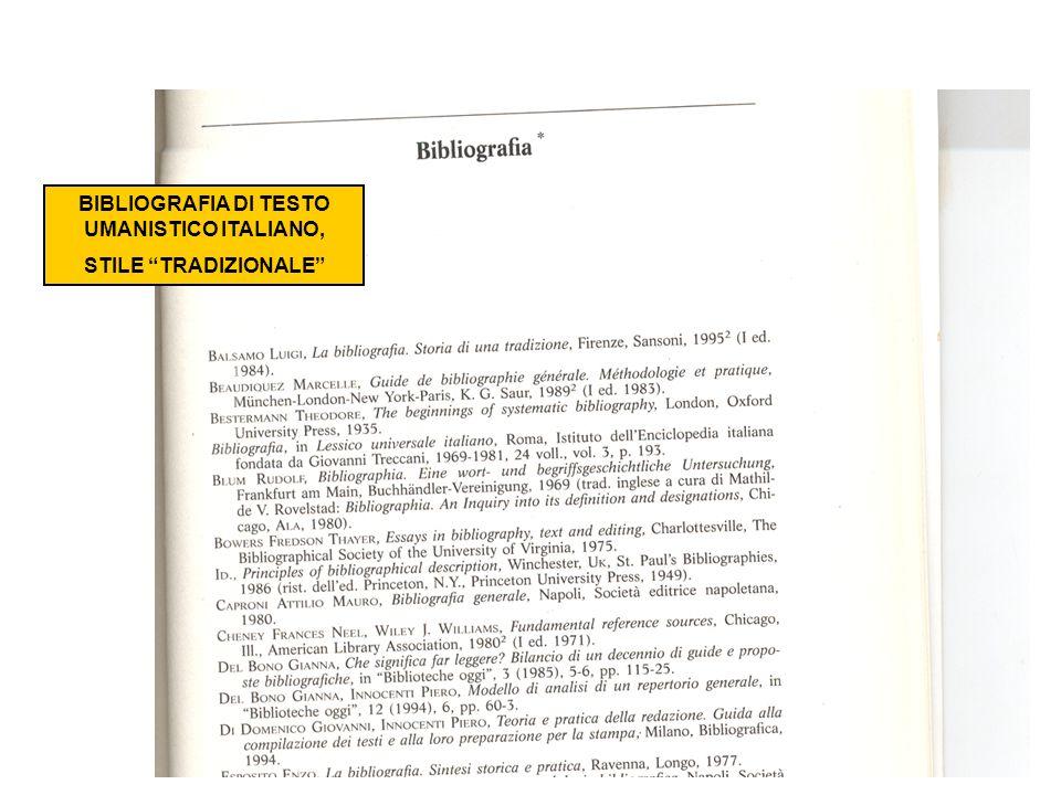 BIBLIOGRAFIA DI TESTO UMANISTICO ITALIANO,