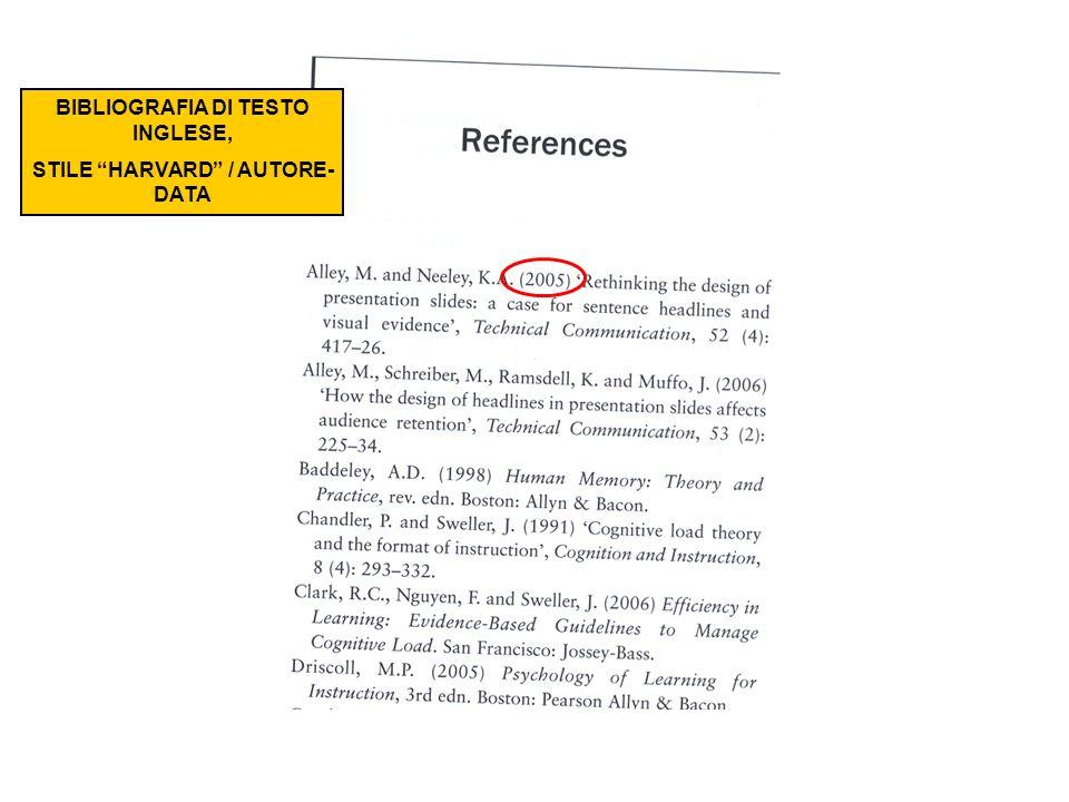 BIBLIOGRAFIA DI TESTO INGLESE, STILE HARVARD / AUTORE-DATA