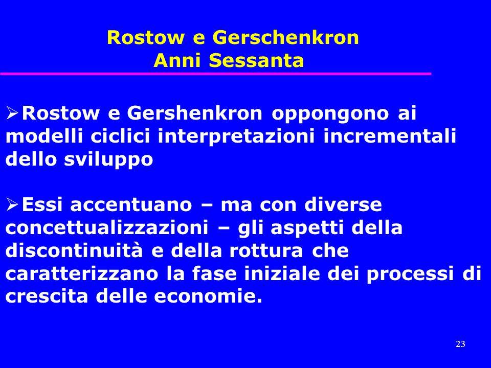 Rostow e Gerschenkron Anni Sessanta