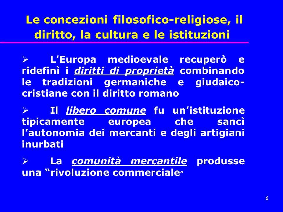 Le concezioni filosofico-religiose, il diritto, la cultura e le istituzioni
