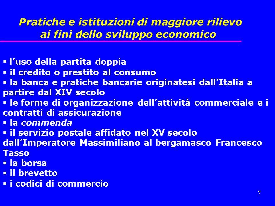 Pratiche e istituzioni di maggiore rilievo ai fini dello sviluppo economico