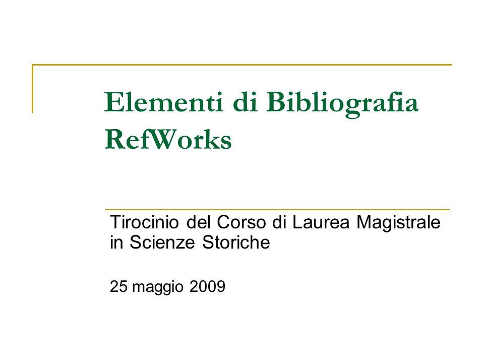 Elementi di Bibliografia RefWorks