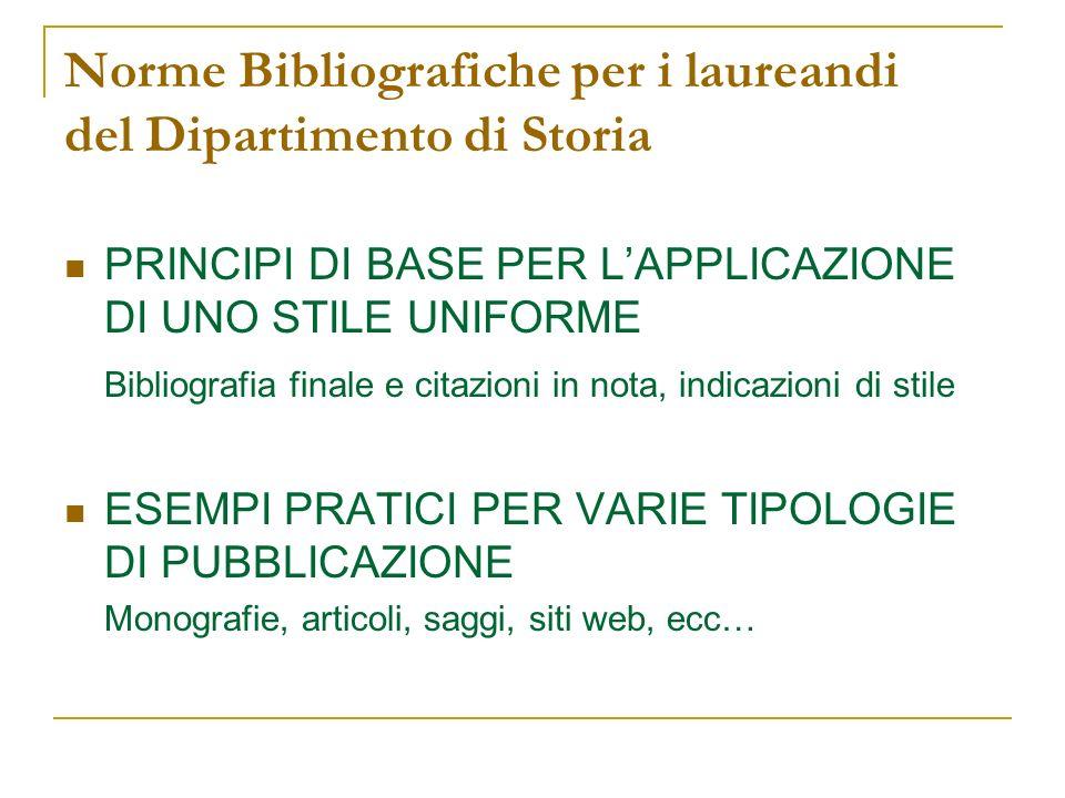 Norme Bibliografiche per i laureandi del Dipartimento di Storia