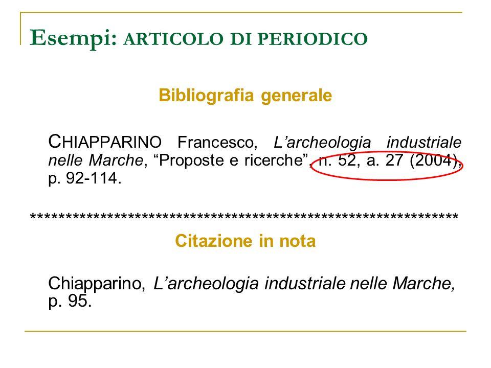 Esempi: ARTICOLO DI PERIODICO