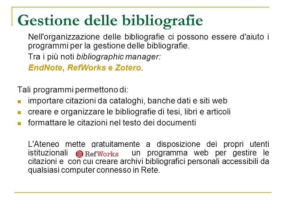 Gestione delle bibliografie