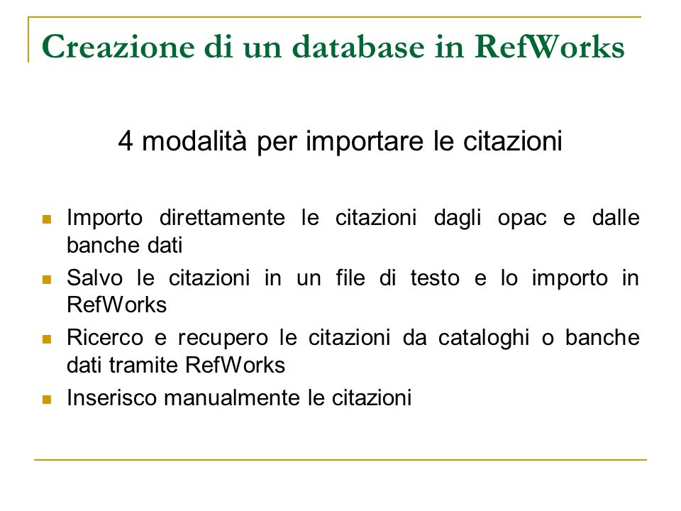 Creazione di un database in RefWorks
