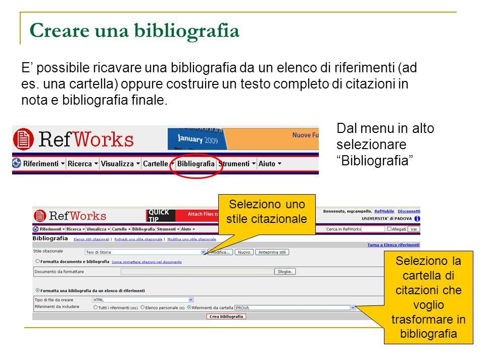 Creare una bibliografia