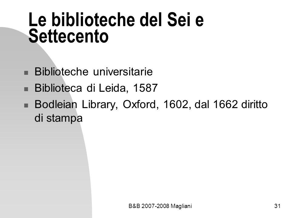 Le biblioteche del Sei e Settecento