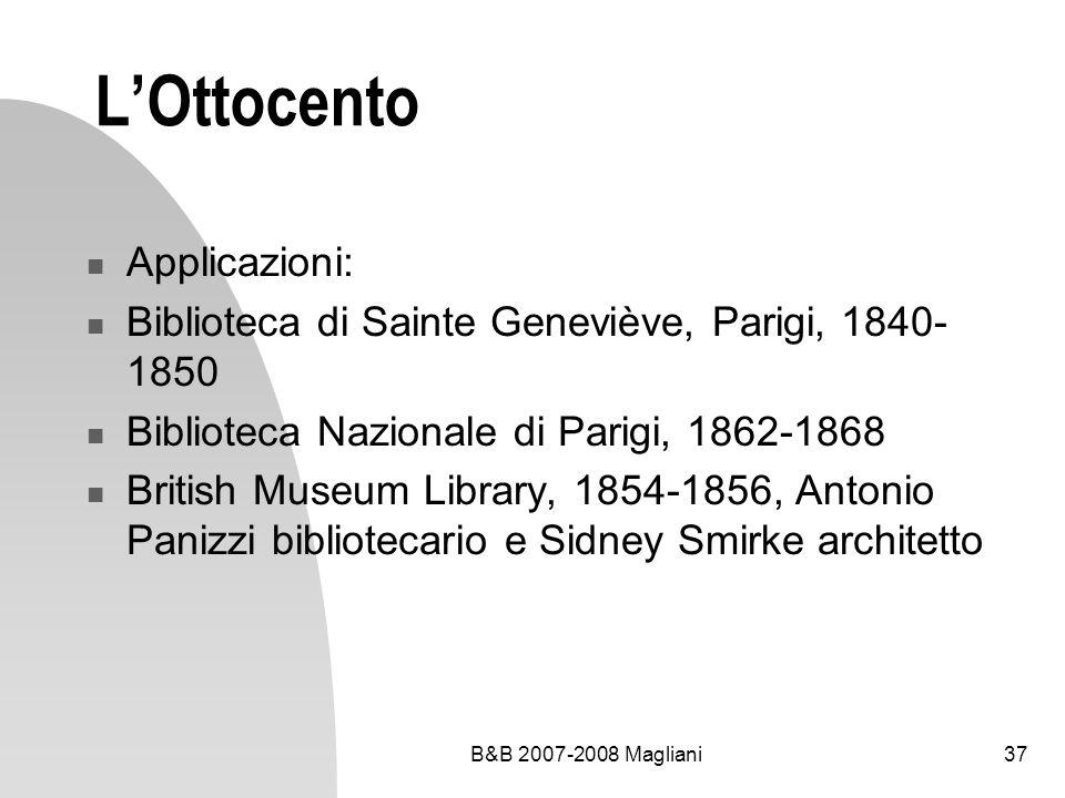 L'Ottocento Applicazioni: