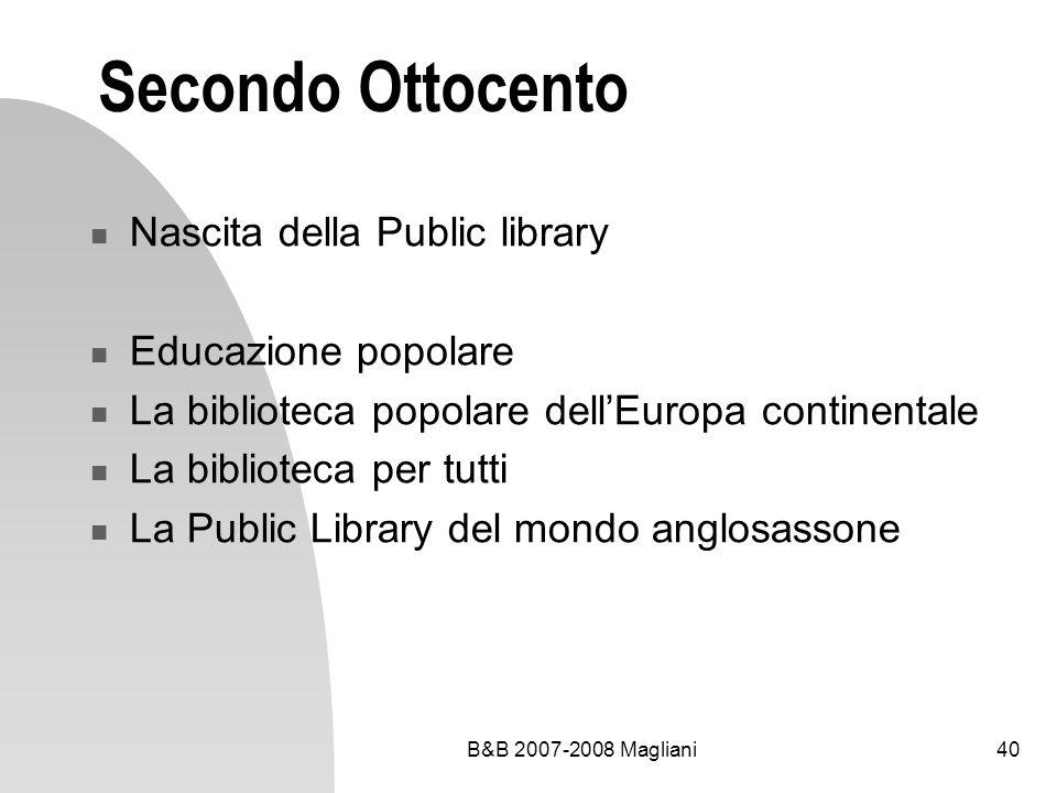 Secondo Ottocento Nascita della Public library Educazione popolare