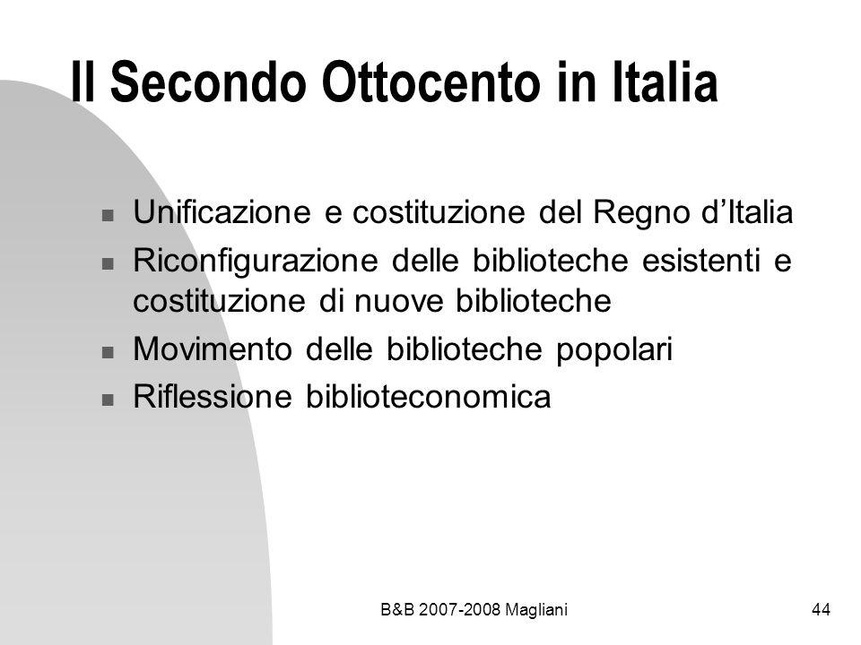 Il Secondo Ottocento in Italia