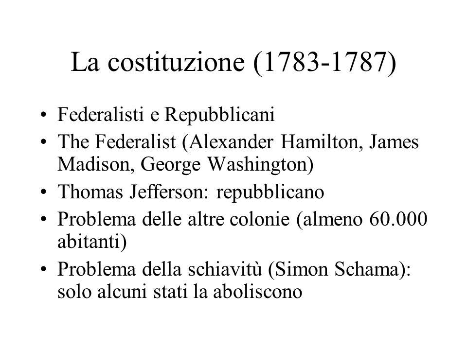 La costituzione (1783-1787) Federalisti e Repubblicani