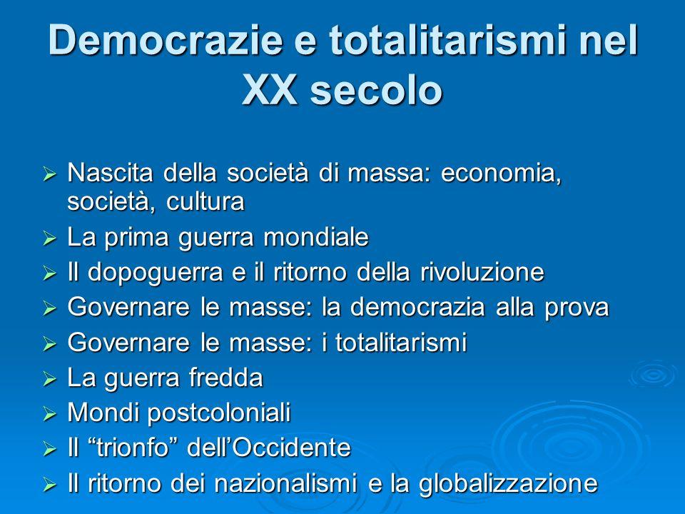 Democrazie e totalitarismi nel XX secolo