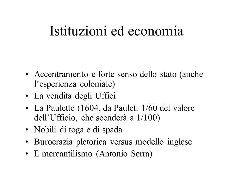 Istituzioni ed economia