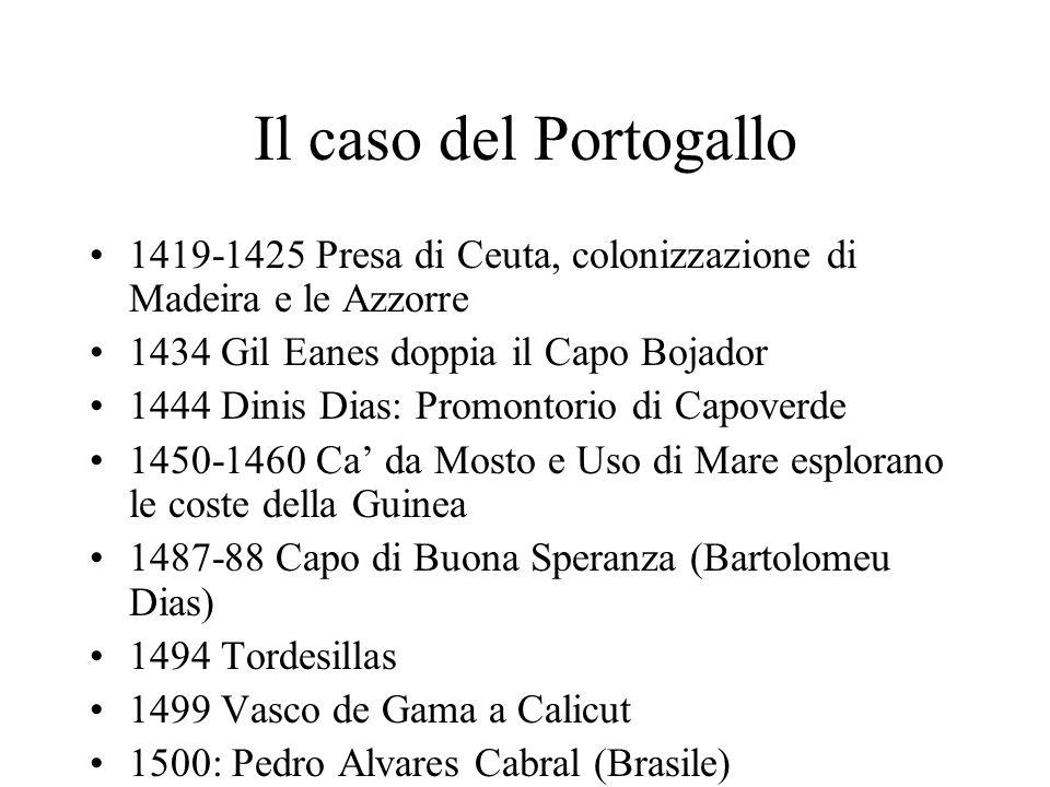 Il caso del Portogallo 1419-1425 Presa di Ceuta, colonizzazione di Madeira e le Azzorre. 1434 Gil Eanes doppia il Capo Bojador.