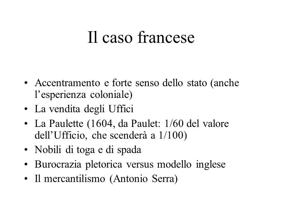 Il caso francese Accentramento e forte senso dello stato (anche l'esperienza coloniale) La vendita degli Uffici.