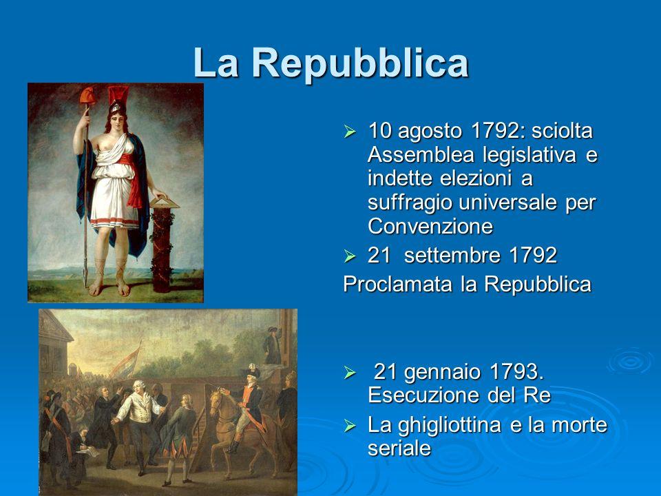 La Repubblica 10 agosto 1792: sciolta Assemblea legislativa e indette elezioni a suffragio universale per Convenzione.