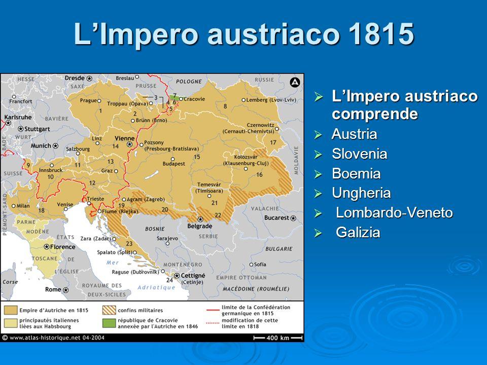 L'Impero austriaco 1815 L'Impero austriaco comprende Austria Slovenia