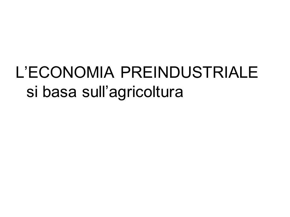 L'ECONOMIA PREINDUSTRIALE si basa sull'agricoltura