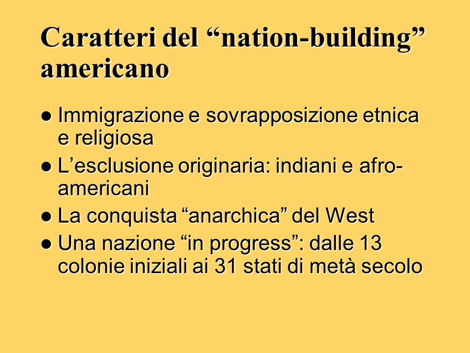 Caratteri del nation-building americano