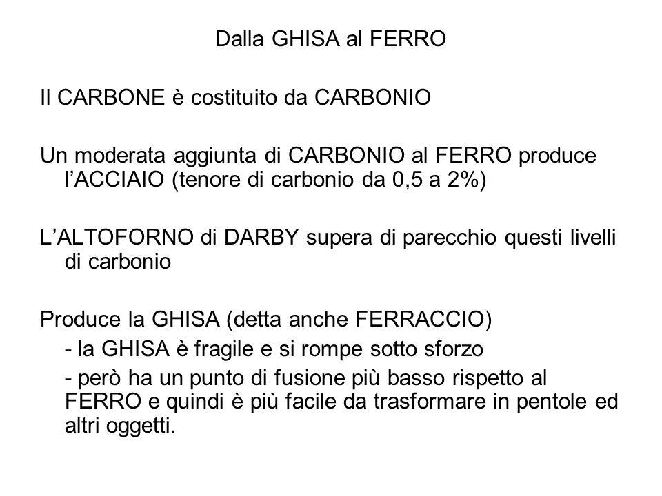 Dalla GHISA al FERRO Il CARBONE è costituito da CARBONIO.