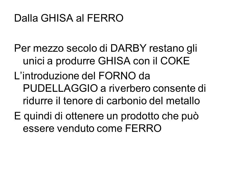 Dalla GHISA al FERRO Per mezzo secolo di DARBY restano gli unici a produrre GHISA con il COKE.