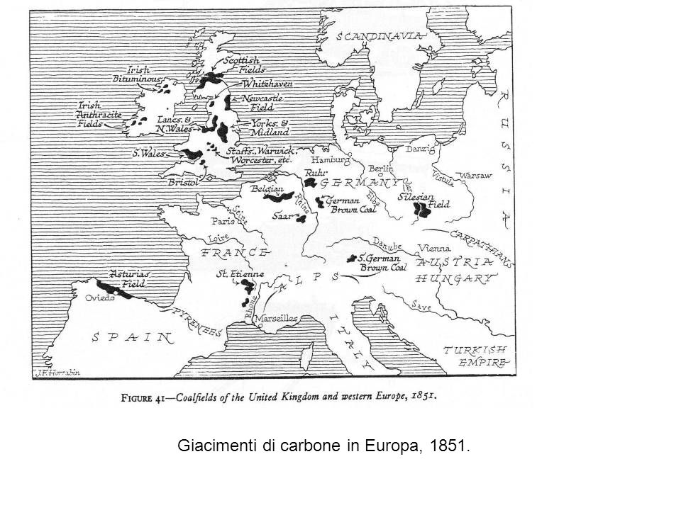Giacimenti di carbone in Europa, 1851.
