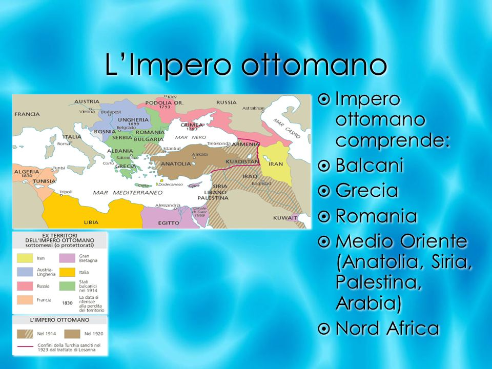 L'Impero ottomano Impero ottomano comprende: Balcani Grecia Romania