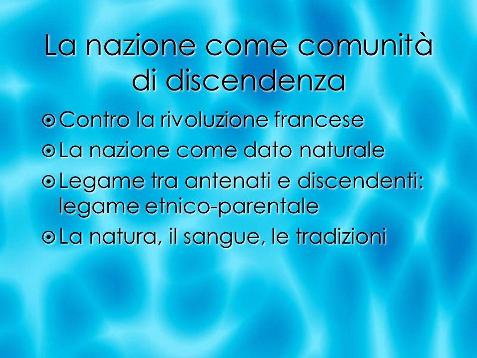 La nazione come comunità di discendenza