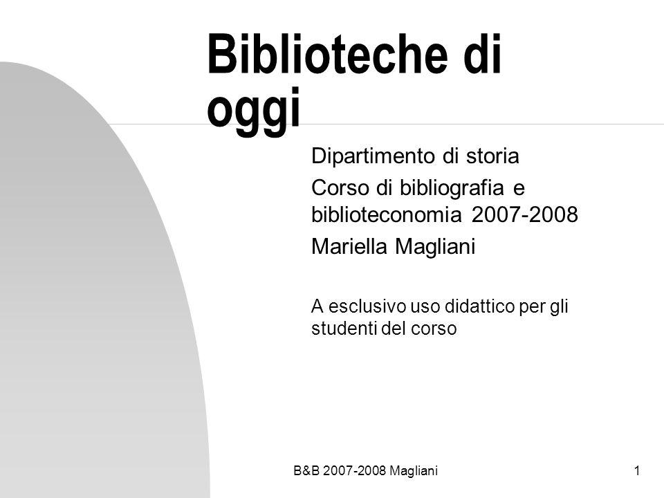 Biblioteche di oggi Dipartimento di storia