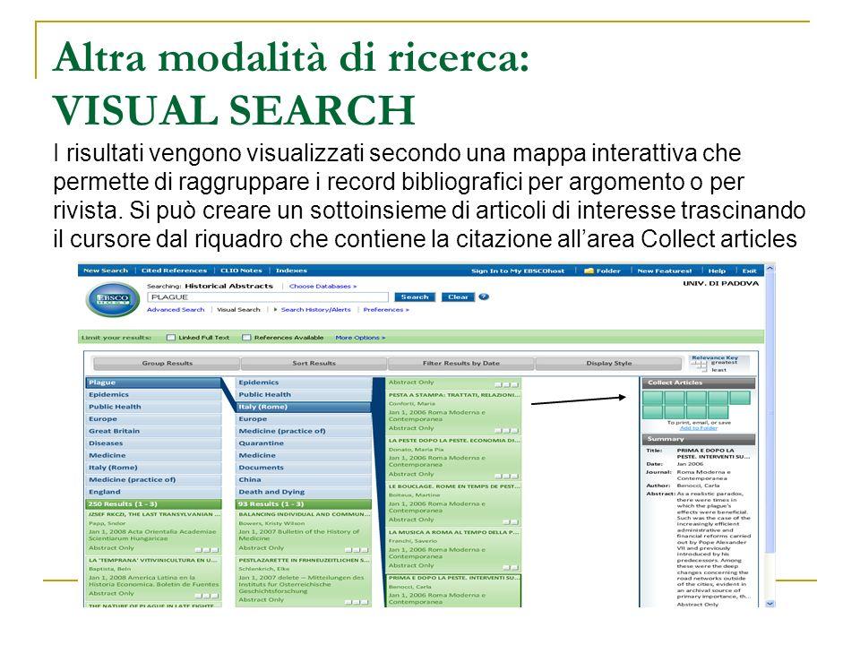 Altra modalità di ricerca: VISUAL SEARCH I risultati vengono visualizzati secondo una mappa interattiva che permette di raggruppare i record bibliografici per argomento o per rivista. Si può creare un sottoinsieme di articoli di interesse trascinando il cursore dal riquadro che contiene la citazione all'area Collect articles