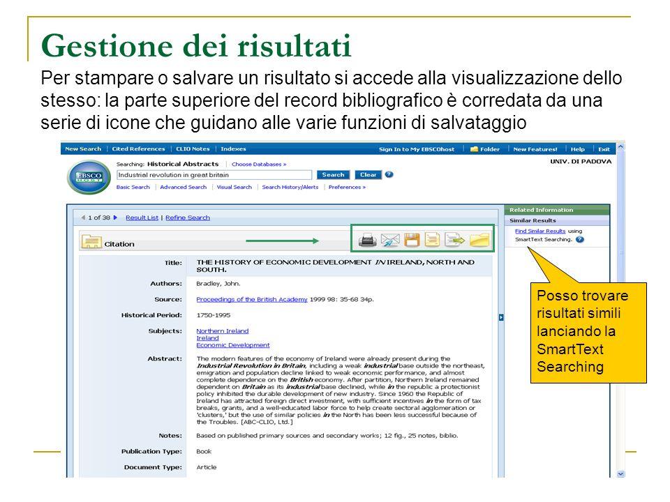 Gestione dei risultati Per stampare o salvare un risultato si accede alla visualizzazione dello stesso: la parte superiore del record bibliografico è corredata da una serie di icone che guidano alle varie funzioni di salvataggio