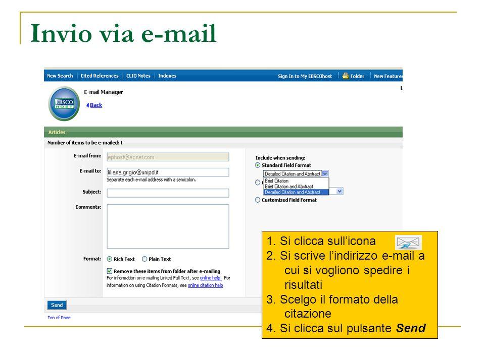 Invio via e-mail 1. Si clicca sull'icona