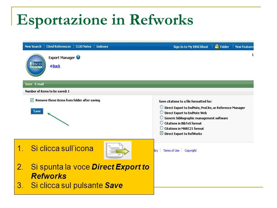 Esportazione in Refworks