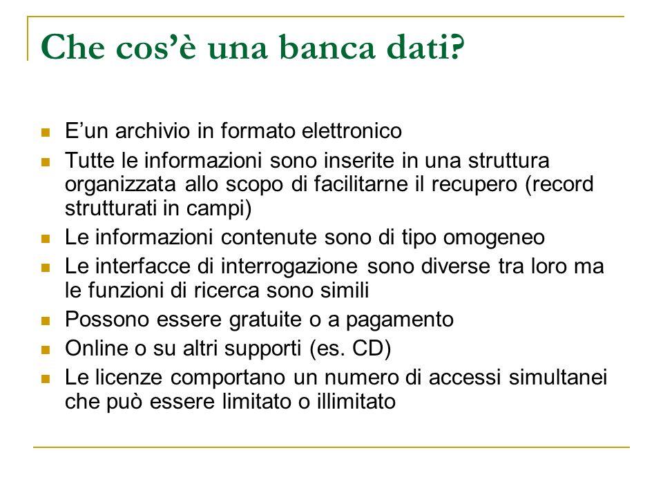 Che cos'è una banca dati