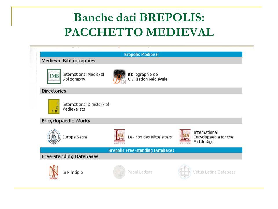 Banche dati BREPOLIS: PACCHETTO MEDIEVAL
