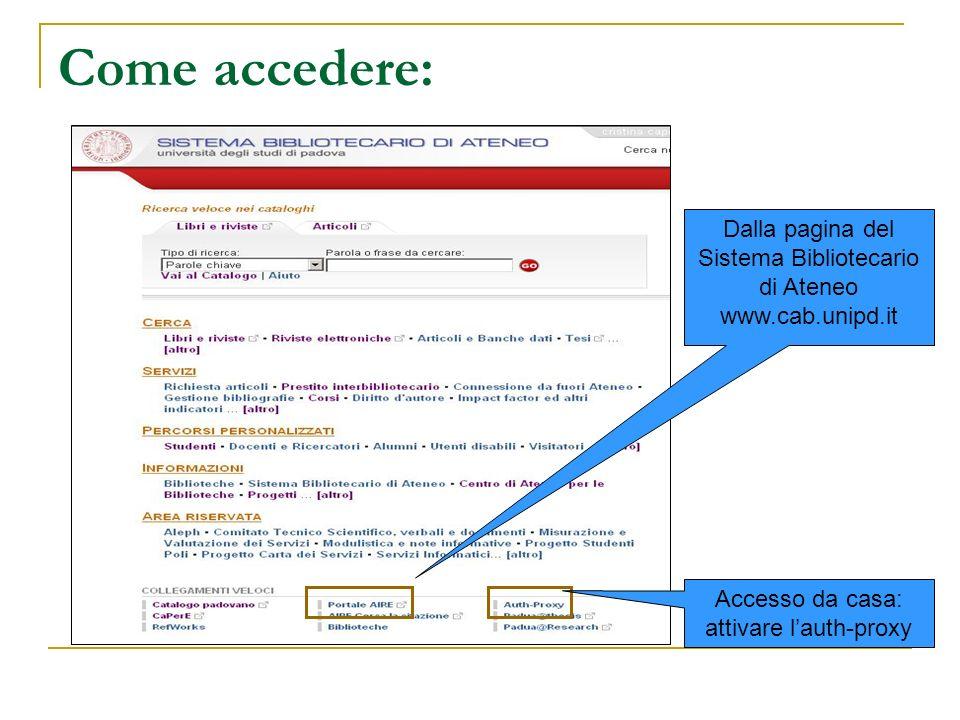 Come accedere: Dalla pagina del Sistema Bibliotecario di Ateneo