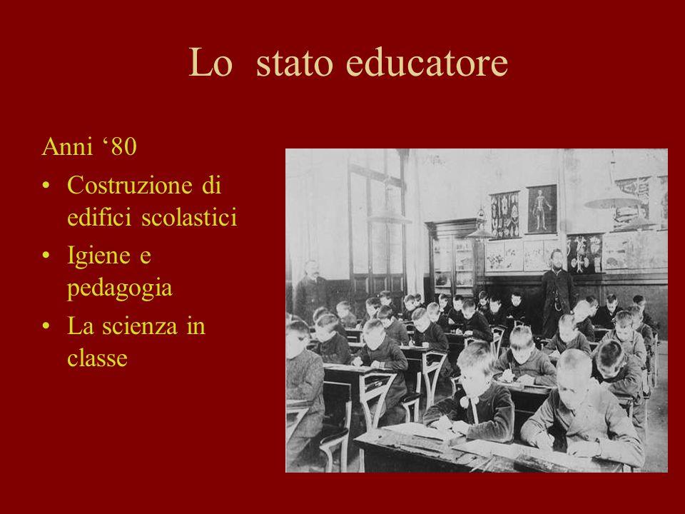 Lo stato educatore Anni '80 Costruzione di edifici scolastici