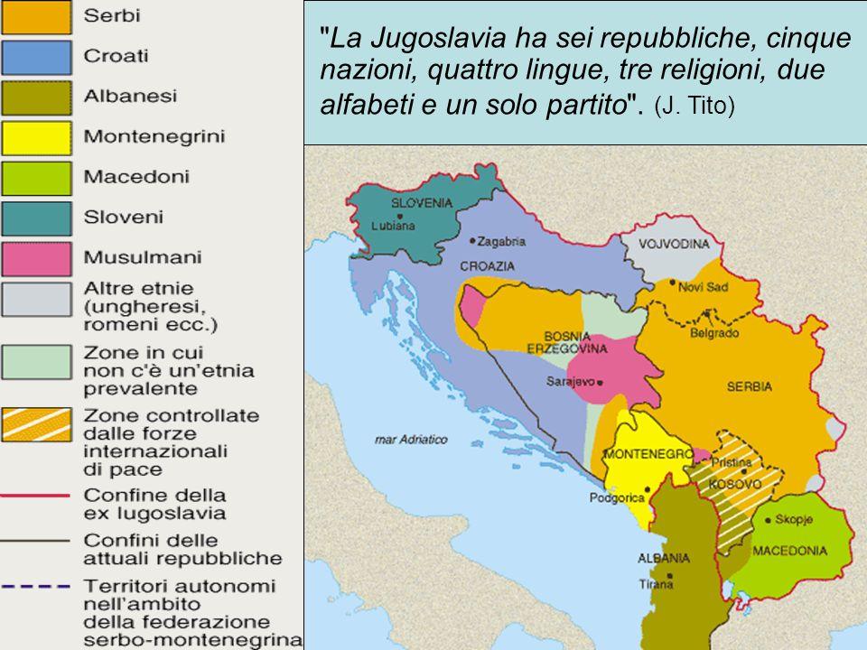 La Jugoslavia ha sei repubbliche, cinque nazioni, quattro lingue, tre religioni, due alfabeti e un solo partito .