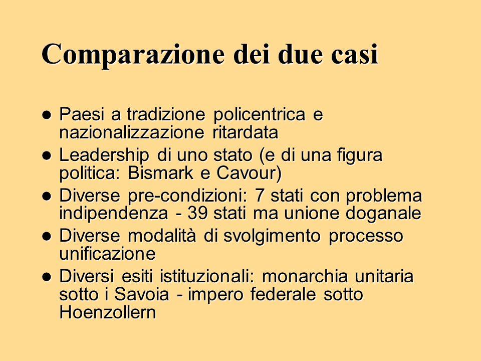 Comparazione dei due casi