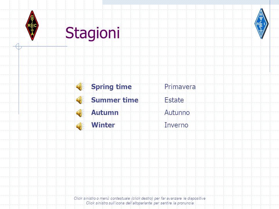 Stagioni Spring time Primavera Summer time Estate Autumn Autunno