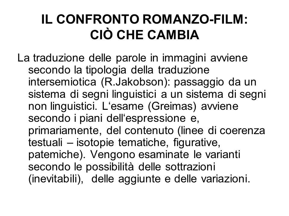 IL CONFRONTO ROMANZO-FILM: CIÒ CHE CAMBIA