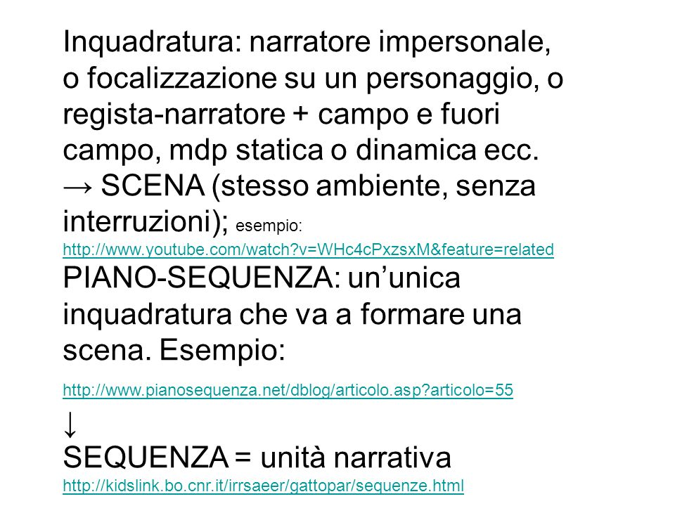 SEQUENZA = unità narrativa