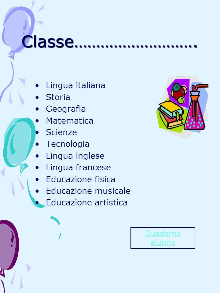 Classe………………………. Lingua italiana Storia Geografia Matematica Scienze
