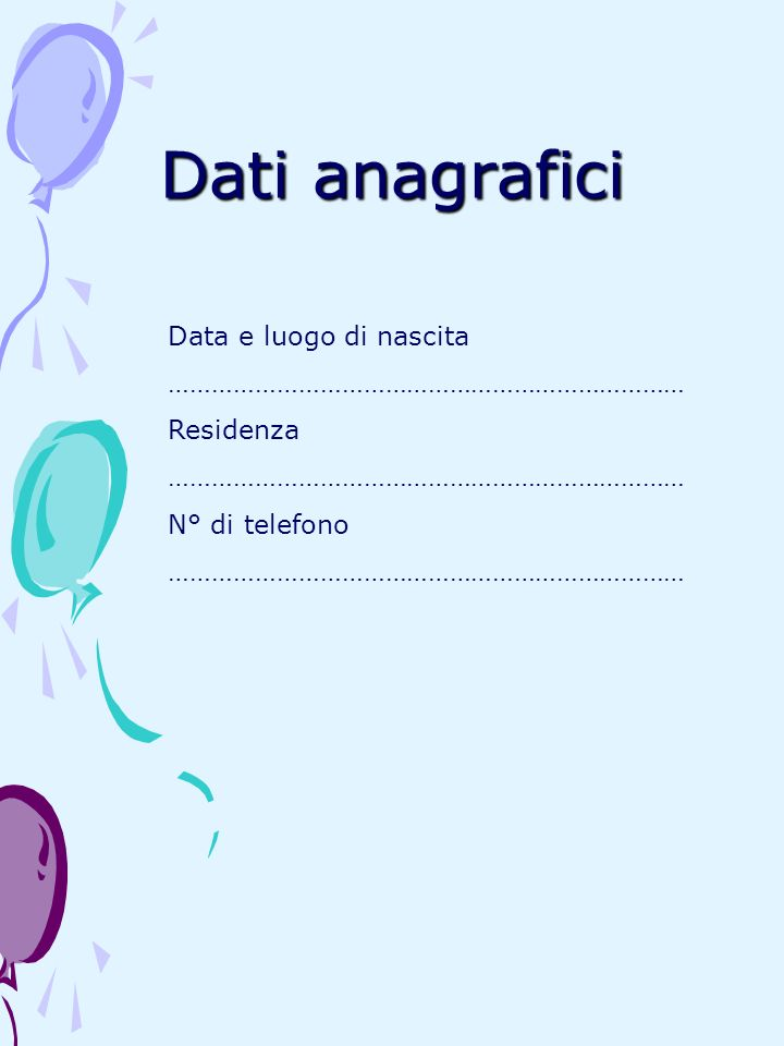 Dati anagrafici Data e luogo di nascita ………………………………………………………………