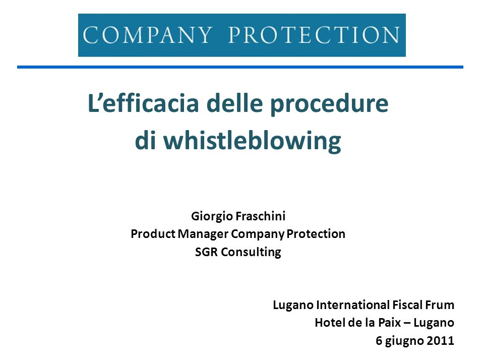 L'efficacia delle procedure Product Manager Company Protection
