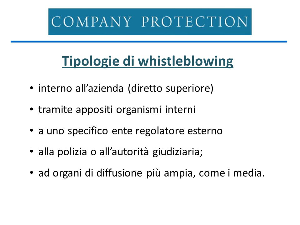 Tipologie di whistleblowing