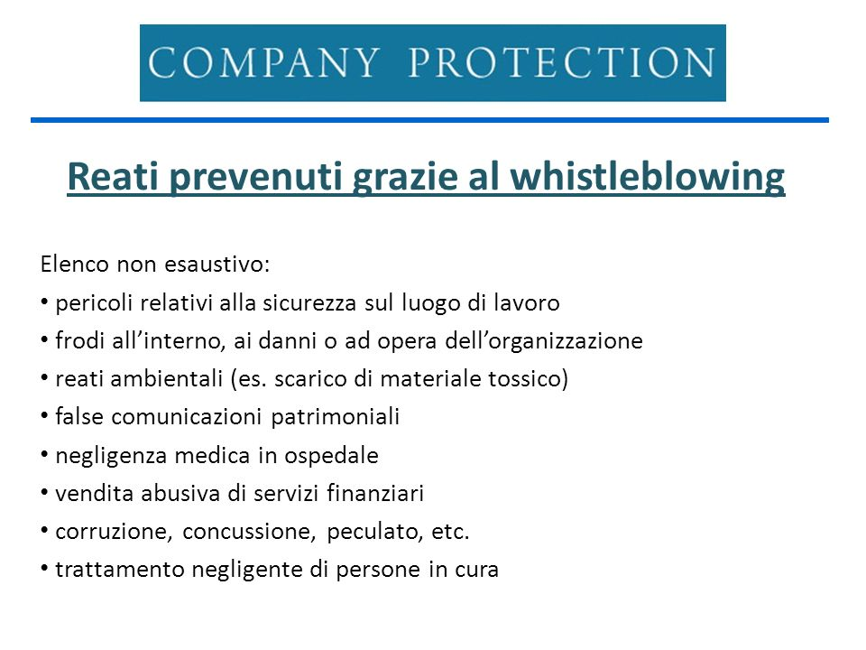 Reati prevenuti grazie al whistleblowing