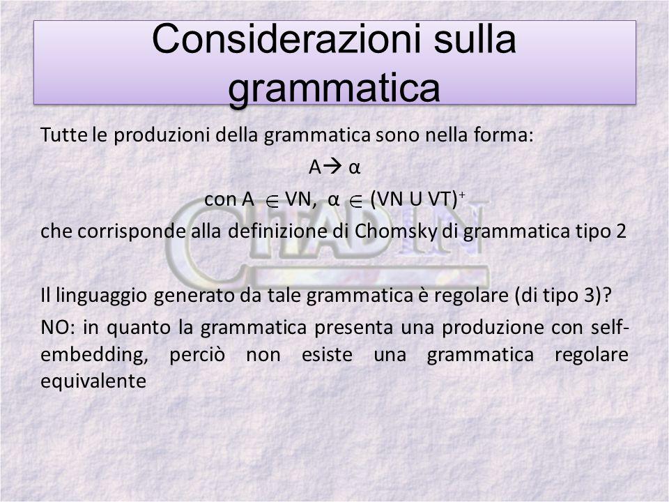 Considerazioni sulla grammatica
